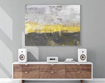 Yellow & Gray Abstract Art - Abstract Landscape Print - Minimalist Art - Large Canvas Art - Extra Large Wall Art - Yellow Sunset Print