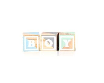 "Announcement Series BOY : 3pcs Wood Blocks (2.5"")"