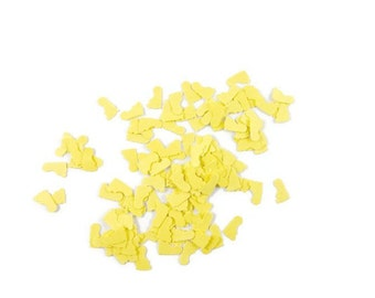 300 Lemon Yellow confetti,  Baby shower confetti, baptism baby feet decor, baby feet table scatters, new baby party decor