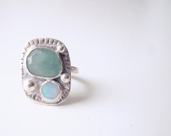 Sterling silver ring - Aquamarine ring - Opal ring - Boho jewellery - Gypsy rings