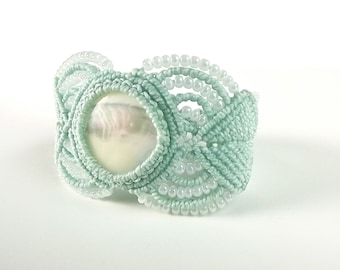 Macrame Bracelet - Mother Of Pearl With Mint Thread And Pearl Seed Beads