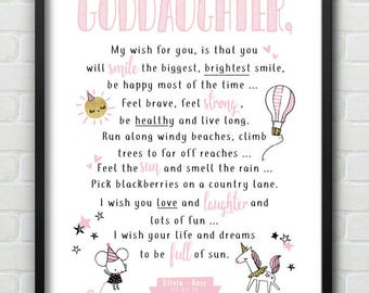 Goddaughter Nursery Baby Girl Pink & Glitter Effect Wall Print With Unicorn - Can personalise for a niece, daughter, granddaughter