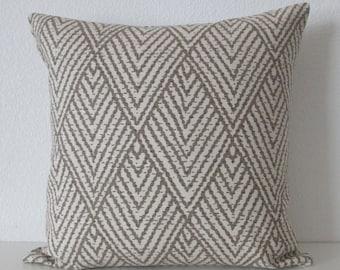 Tahitian stitch tusk brown geometric decorative pillow cover - Ballard Design Belize Taupe