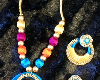 Unique multi colored threaded necklace set