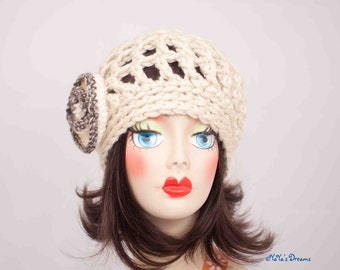 Super Bulky Beanie with Swirly Flower