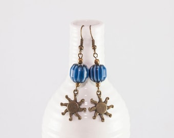 Bohemian earrings with vintage ceramic beads