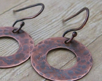 Hammered Copper Washer Earrings, Industrial Dangle Earrings, Oxidized Copper Jewelry, Rustic Jewelry, Handmade Copper Earrings