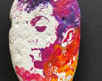 PRINCE Hand Painted Rock Stone Art Gift Paperweight