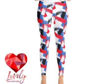 Abstract Leggings, Yoga leggings, White Yoga pants, Art tights, Graphic Leggings, Printed Leggings, Custom design for Women Leggings