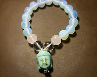Buddha Dharma Opalite Bracelet with Clear and Rose Quartz Crystal