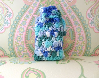 Crochet Soap Saver Bag, Soap Sack, Massaging Soap Saver, Crochet Soap Pouch in Turquoise and White - 100% Cotton - Ready to Ship