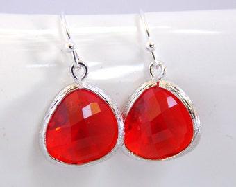 Red Earrings, Glass Earrings, Silver Earrings, Red Apple, Bridesmaid Earrings, Bridal Earrings Jewelry, Bridesmaid Gifts