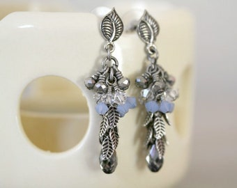 Long Dangling Chrome Crystal, Blue and Matte White Antiqued Silver Leaf Fancy Earrings