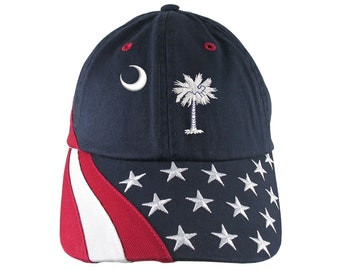 South Carolina State Flag Palm Tree Moon Crescent Embroidery on Adjustable Navy Blue Unstructured Stars and Stripes Baseball Cap + Options