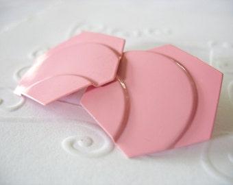 Pink Enamel Earrings, Clip on, Geometric Design, Bubble Gum Pink, 1950's, Rockabilly, Abstract