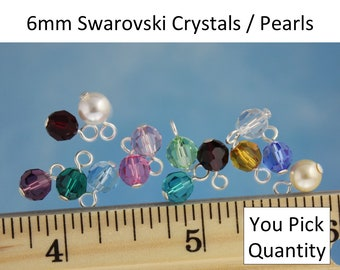 You Pick Quantity: 6mm Swarovski crystal or pearl round dangles- silver, gold, gunmetal, antique brass or copper plated- simple loop