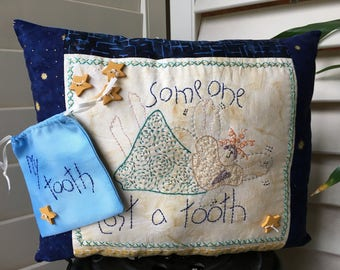 Embroidered Pillow , Tooth Fairy Pillow with Detachable Tooth Bag ,Child Friendly , Hand Embroidered Child Room Accent