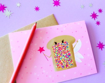 Fairy bread card, pink and rainbow sprinkles