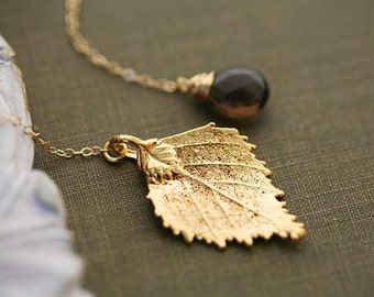 Gold Birch Leaf Lariat Necklace,Leaf necklace,real leaf necklace,Custom birthstone,Wedding Jewelry,Bridesmaid gifts,Birthday,Mother jewelry