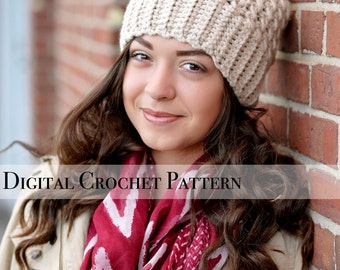 Crochet Pattern / Chunky Cross Stitch Beanie Hat Pattern 037 / Crochet Hat Pattern / Women's Slouchy Hat  / Slouchy Beanie / Fall Fashion