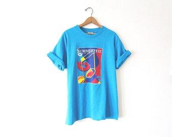 Vintage '94 SUMMERFEST Milwaukee, Wisconsin Music Festival Smiley Face Concert SOUVENIR T-Shirt Sz Large