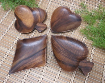 Wooden Bowls Set of 4 Playing Card Symbols Hearts Spades Clubs Diamonds Dark Brown Home Decor Collectible Carved Vintage FREE SHIPPING (800)