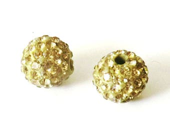 1 x bead ball 8mm PALE yellow Crystal rhinestones