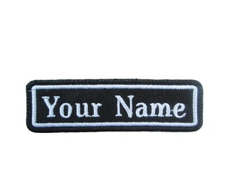 Rectangular Custom Embroidered Name Tag Iron or Sew on Patch Badge Black  and White