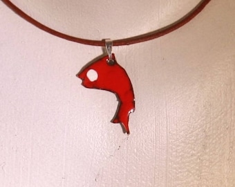 original enamel on copper fish pendant