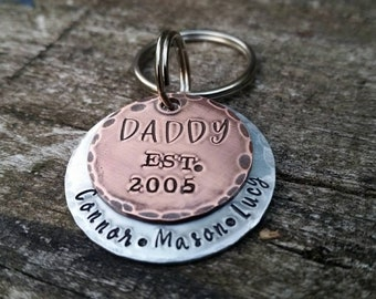 Dad Est Keychain with Kids Names - Father's Day Gift - Gift for Dad