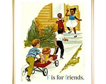 F is for Friends Nursery Art, PRINTABLE ART, African American Print, Vintage Print, Nursery Wall Decor