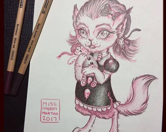 "Inktober ""Werewolf"" ORIGINAL ARTWORK  By Miss Cherry Martini"