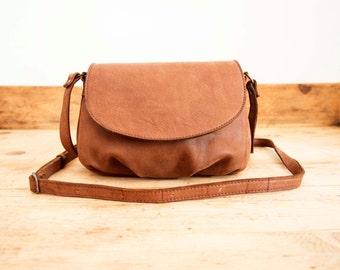 Camel Leather bag // Small Leather bag // Soft Leather bag // Cross-body leather bag // Small shoulder bag // Brown leather shoulder bag