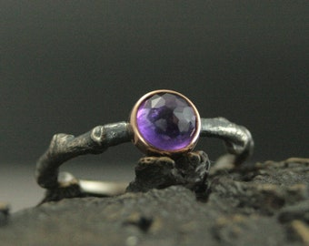 Amethyst Ring Branch Ring Twig Ring Rose Gold Bezel Set Rose Cut Amethyst Dew Drop Ring Gift for Her Birthstone Ring Mother's Day Gift