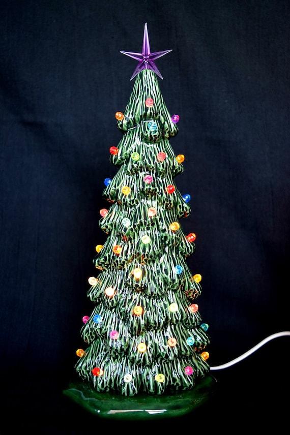Ceramic Christmas tree 10.5 inches Tall Slim Tree Xmas