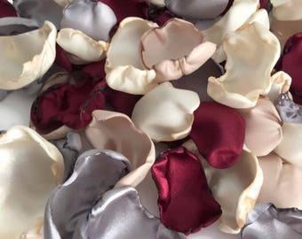 Marsala Maroon, ivory, champagne, silver mix of flower petals, rose petals, table decor, flower girl petals, wedding decor