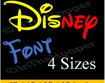 DISNEY FONT Machine EMBROIDERY Designs Pes, Hus, Jef, Dst, Exp, Jef+, Vip, Vp3, Xxx