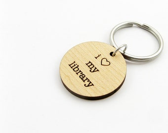 I Heart My Library - Bibiophile Keychain for Librarian, Book Lover, Reader Gift