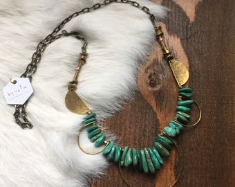 Hammered Brass and Turquoise Fringe Necklace