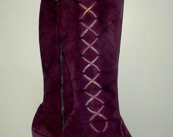 ON HOLD for Tiffany Purple Suede Boots 1960s Psychedelic Era