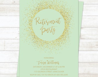 Retirement Party Invitation, Mint Gold Retirement Party Invitation, Gold Glitter Retirement Invitation, Farewell Party Invitation