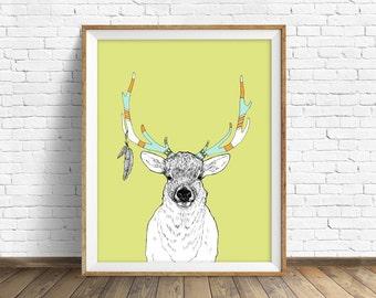 """elk, elk antler, elk art, wall art, art print, nursery wall art, woodland nursery, nursery animal prints, animal art - """"Elk and Feathers"""""""