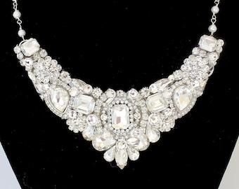 Bridal Statement Necklace- Rhinestone Bib Necklace- Rhinestone Bridal Necklace- Rhinestone Wedding Necklace-Swarovski Necklace- Brass Boheme