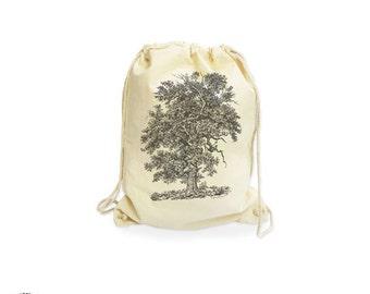 English oak tree drawstring bag-botanical gymsack-nature gym sack-outdoor bag-nature cotton bag-gift traveler-tree bag-NATURA PICTA NGS015