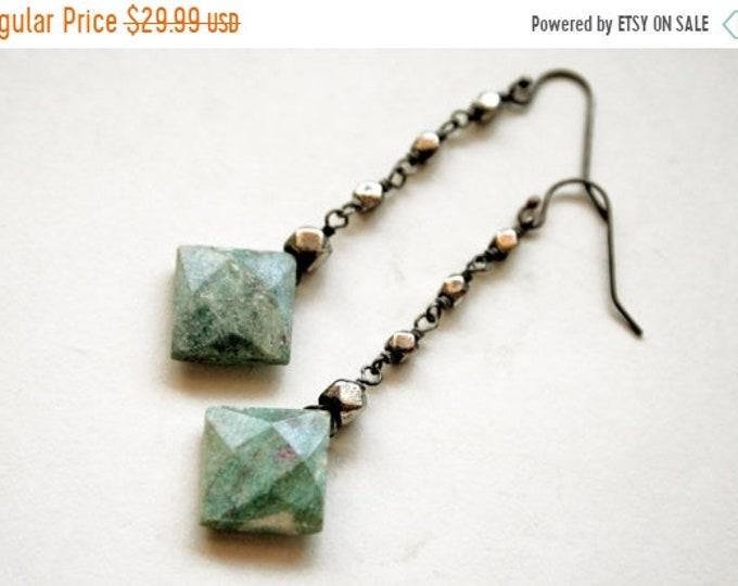 SUMMER CLEARANCE Ruby Fuchsite Dangle Earrings // Green Fuchsite Drop Earrings