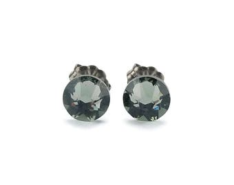 Titanium Stud Earrings Black Diamond, Gray Swarovski Crystal Studs, Pure Titanium Post Earrings for Sensitive Ears, Hypo Allergenic Studs
