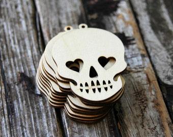 10 . Sugar Skull Wood Tags . Dia de los Muertos . Day of the Dead . Halloween Favors . Sugar Skull Wedding Favors . Halloween Party Favors