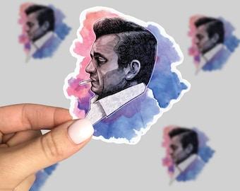 Johnny Cash Sticker, Johnny Cash Watercolor sticker, Johnny Cash Laptop Sticker, Retro Sticker, Watercolor Sticker