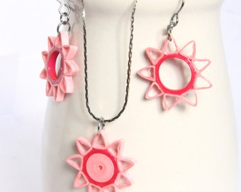 Pink Star Earrings and Pendant Set Nine Pointed Star with Niobium Earring Hooks Eco Friendly Artisan Jewelry