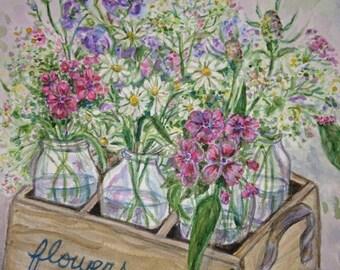 Original watercolor painting of wildflowers in Jars 9 x 12